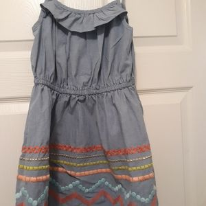 Blue Dress with multicolored prints near bott6